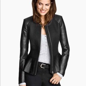 Faux Leather Jacket with Tweed and Peplum Details